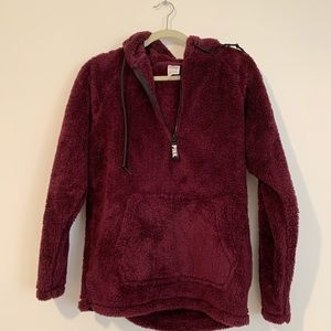 NWOT - VS Pink Sherpa Half Zip size Small